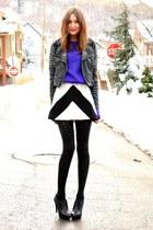 black jacket - white Karta dress - deep purple vintage sweater