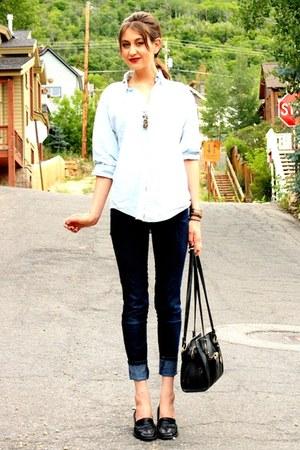 sky blue vintage top - navy James Jeans jeans - black Dooney  Bourke bag