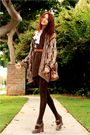 Brown-thrift-dress-brown-thrift-sweater-brown-frye-shoes-beige-dooney-bo