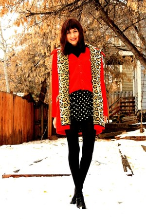 red vintage jacket - red vintage sweater - black vintage skirt