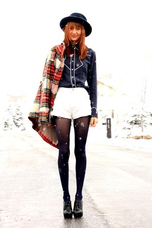 ruby red free people coat - white Wrangler shorts - navy Vena blouse - black Ald