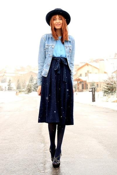 blue Levis jacket - sky blue thrifted blouse - navy crystallized vintage skirt
