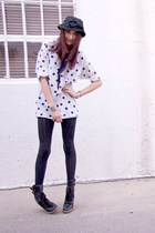 white thirft shirt - black Nordstrom tights - black vintage hat - black Marc Jac