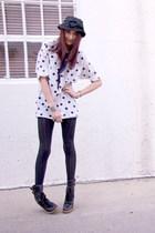 white thirft shirt - black Nordstrom tights - black vintage hat - black Marc Jac