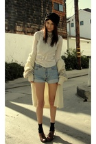 beige Goodwill sweater - white shirt - blue Levi 501 shorts - brown jeffrey camb
