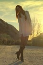 Light-pink-club-couture-dress-neutral-zara-blazer-black-seychelles-boots