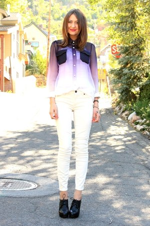 white J Crew pants - deep purple blouse - black Aldo heels