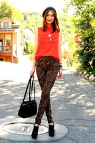 dark brown pants - black Aldo shoes - red JCrew blouse