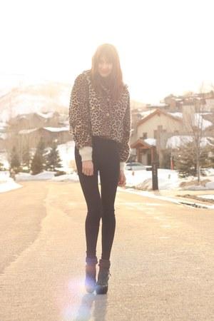 camel vintage jacket - black American Apparel pants - black Michael Kors heels