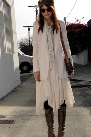 beige Zara blazer - beige TT blouse - beige Marc Jacobs skirt - brown seychelles