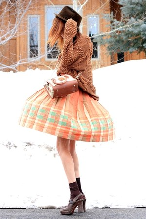 vintage sweater - crystallized vintage skirt
