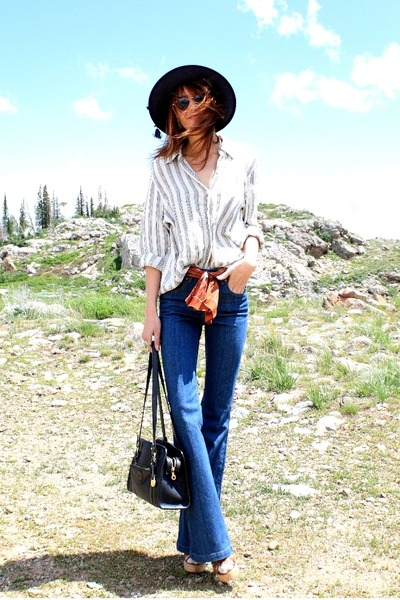 white vintage blouse - blue Courtesy of Denimfactoria jeans - navy vintage hat
