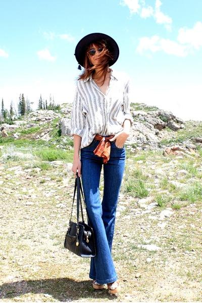 white vintage blouse - blue Courtesy of Denimfactoria jeans - navy vintage hat