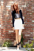 white vintage skirt - blue silence and noise sweater