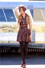 Brown-vinage-dress-beige-vintage-sweater-brown-vintage-shoes