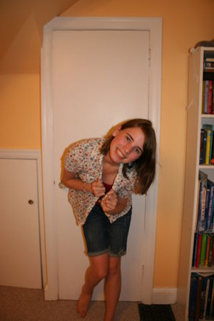 red Aeropostale top - beige Forever 21 blouse - blue Old Navy shorts - red Keds