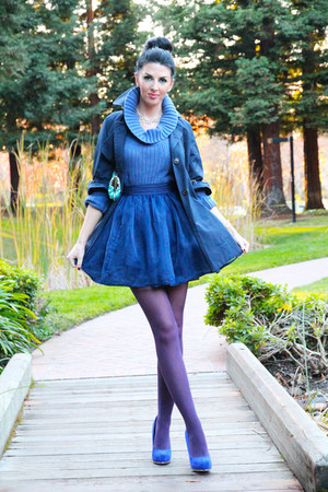 blue Forever 21 jacket - Forever21 skirt - blue Steve Madden pumps