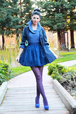 blue Forever 21 jacket - Forever21 skirt - blue Steve Madden pumps