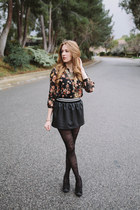 Forever 21 skirt - francescas tights - Forever 21 blouse - francescas necklace