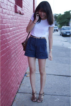 navy high-waisted thrifted shorts - white lace thrifted t-shirt