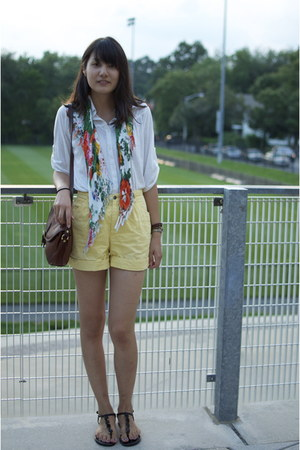 floral Forever 21 scarf - white Shuca shirt - light yellow thrifted shorts