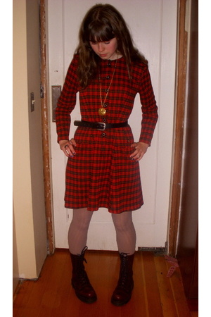 vintage dress - Goodwill belt - Urban Outfitters tights - doc martens