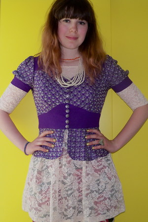 light pink lace H&M dress - purple episode vintage jacket - green vintage pants