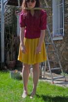 light orange H&M sunglasses - maroon ruffled vintage blouse - yellow polka dot t