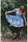 Bronze-shiny-doc-martens-boots-turquoise-blue-faded-floral-vintage-dress-nav