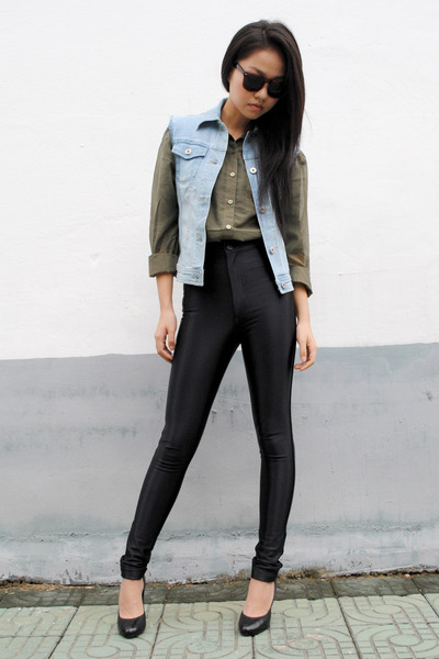 denim DIY vest - forest green H&M shirt - American Apparel pants