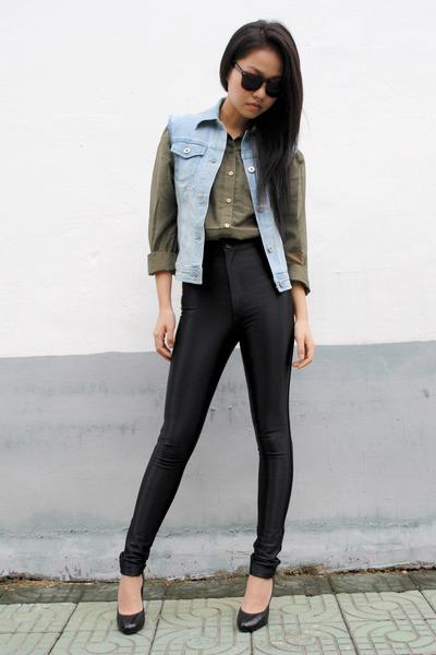 denim DIY vest - forest green H&M shirt - American Apparel pants