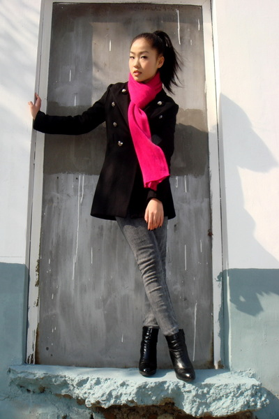 scarf - coat - American Apparel jeans - shoes