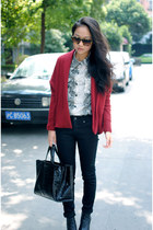 snakeskin Zara shirt - burgundy cardigan