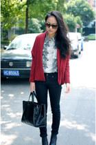 snakeskin Zara shirt - burgundy cardigan