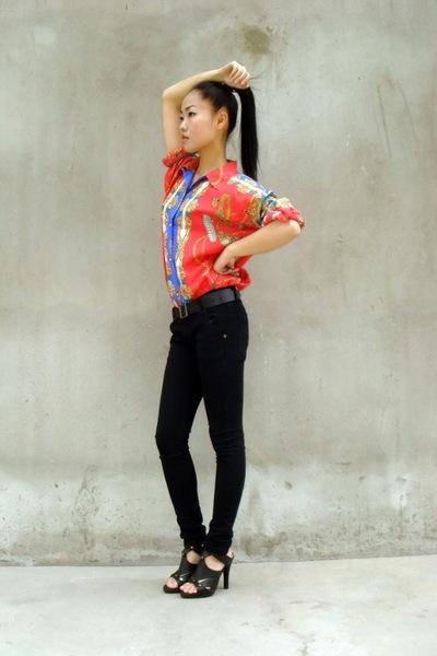 vintage shirt - black American Apparel jeans - christian dior shoes