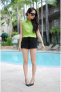 Lime-green-vintage-shirt-black-h-m-shorts