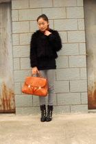 brown H&M scarf - black jacket - silver H&M jeans - shoes