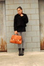 Brown-h-m-scarf-black-jacket-silver-h-m-jeans-shoes