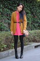 mustard vintage cardigan - red vintage shirt - black American Apparel tights - v