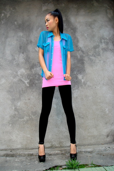 vintage shirt - H&M top - black American Apparel leggings - shoes