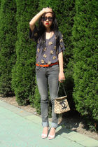 FCUK blouse - silver jeans - shoes