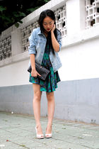 denim jacket - nude peep-toe shoes - dress