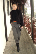 black jacket - pants - shoes - purse