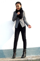 black H&M scarf - silver blazer - American Apparel jeans - shoes