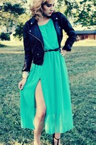 aquamarine chiffon Ebay dress - black H&M jacket - black H&M bag