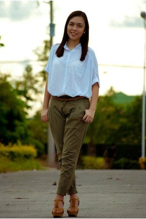 oversized polo top - wedges - trousers pants - leather belt
