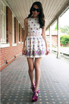 white floral print Topshop dress - hot pink suede Topshop heels