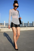 white striped bec & bridge top - black leather Forever New shorts