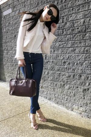 crimson leather Prada bag - navy skinny Bettina Liano jeans