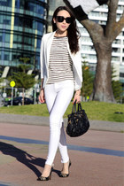 white Zara jeans - ivory Topshop blazer - black strippy Marcs t-shirt
